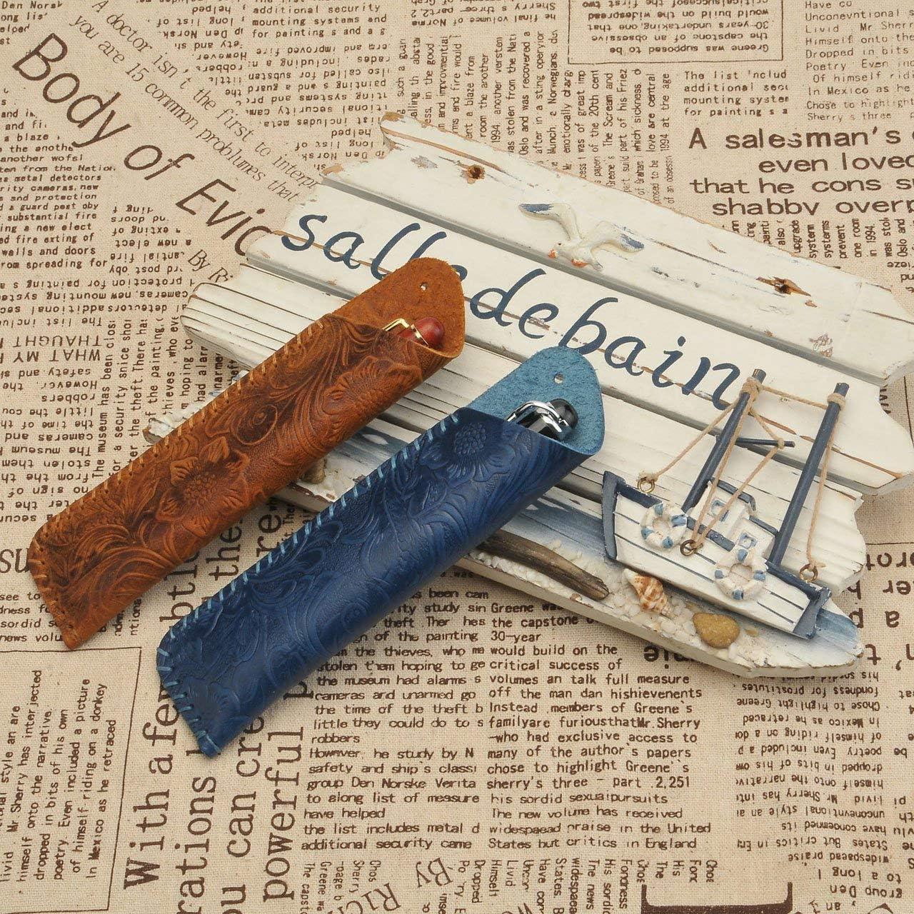 Mogokoyo /Étui en cuir v/éritable emboss/é pour deux stylos  bleu