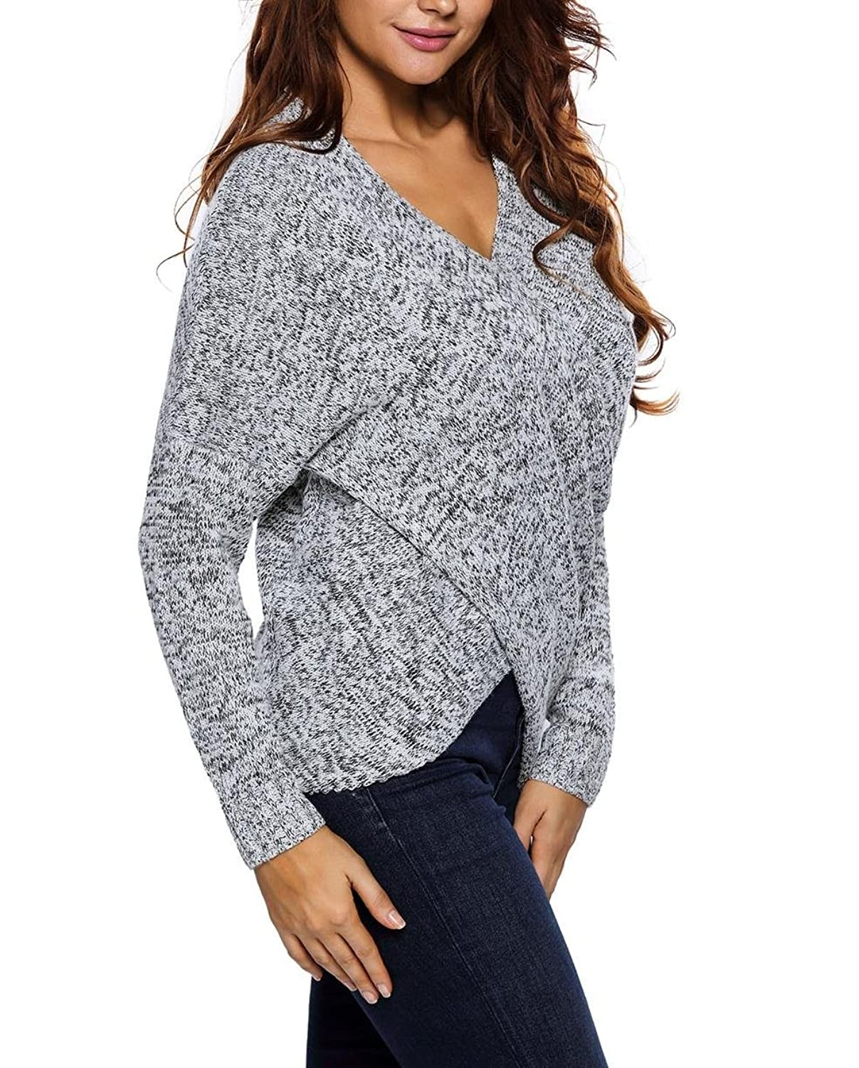 Booty Gal Women's Casual Chunky Cross Wrap V Neck Tunic Pullovers Sweater