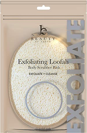 Exfoliating Loofah Sponge Body Scrubber - Pack of 2 Natural Loofah Sponges, Shower Body Exfoliator Scrubbing Pads for Removing Dead Skin