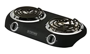 Kitchen Selectives DB-2 Kitchen Selectives Double Burner, Black