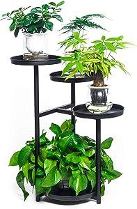 4 Tier Shelves Metal Plant Stand Flower Holder Rack Garden Decoration Display 23.6 inches Iron Planter Holder for Outdoor Indoor (Black)
