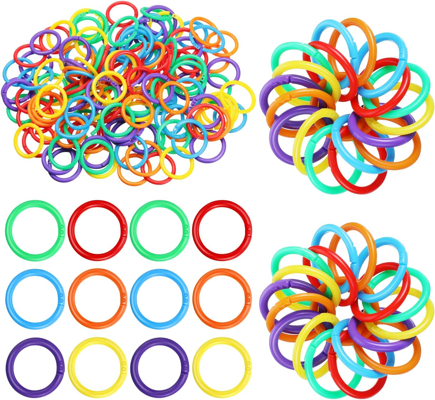 144 Pieces Plastic Loose Leaf Rings Multi-Color Binder Rings Plastic Book Rings Flexible for Cards, Document Stack and Swatches Organization School Home, or Office Use, 6 Colors (20 mm)