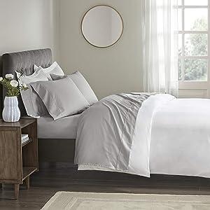 Beautyrest 400 Thread Count Wrinkle Resistant Cotton Sateen Sheet Set, King, Grey