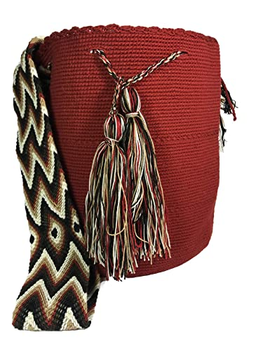 Wayuu Mochila Traditional Ethnic Bag -Large- 100% Real Crochet Hand Woven in Colombia -Cotton- Unicolor: Handbags: Amazon.com