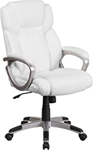 Flash Furniture Mid-Back White LeatherSoft Executive Swivel Office Chair with Padded Arms