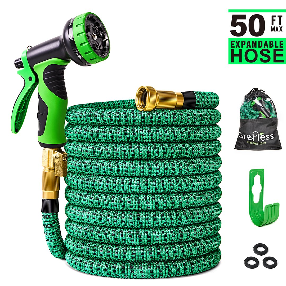 Greness 50 ft Garden Hose,Lightweight Expandable Garden Water Hose with 3/4 inch Solid Brass Fittings,Durable Outdoor Gardening Flexible Hose for Yard,Expanding Garden Hoses 9 Function Spray Nozzle by Greness