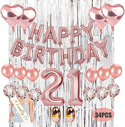 Amazon.com: Kit de decoración para 21 cumpleaños. Kwayi ...