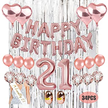 21st Birthday Decoration Kit Kwayi Rose Gold Parity Supplies With HAPPPY Balloon Large