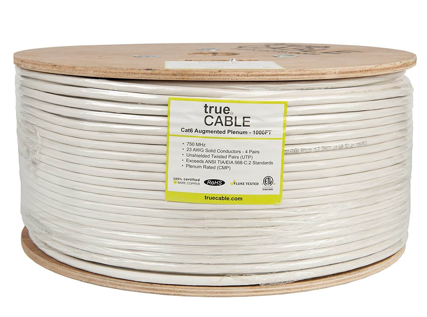 Cat6a Plenum Cmp 1000ft White 23awg 4 Pair Solid Unshielded Twisted Wiring Bare Copper 750mhz Etl Listed Utp Bulk Ethernet Cable
