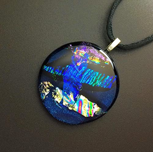 Rainbow handmade 8 mm glass and steel pendant aesthetic glass pendant Fused mini Dichroic glass Necklace