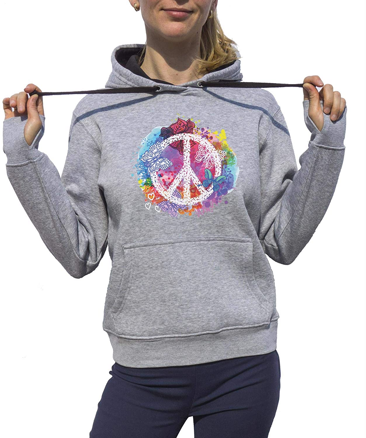 KrisTalas Sudadera con Capucha Mujer Flower Power Freedom Clothing Peace Hippie Thematic Outfit Dress Code 60s Clothing 70s Clothing Gris: Amazon.es: Ropa ...
