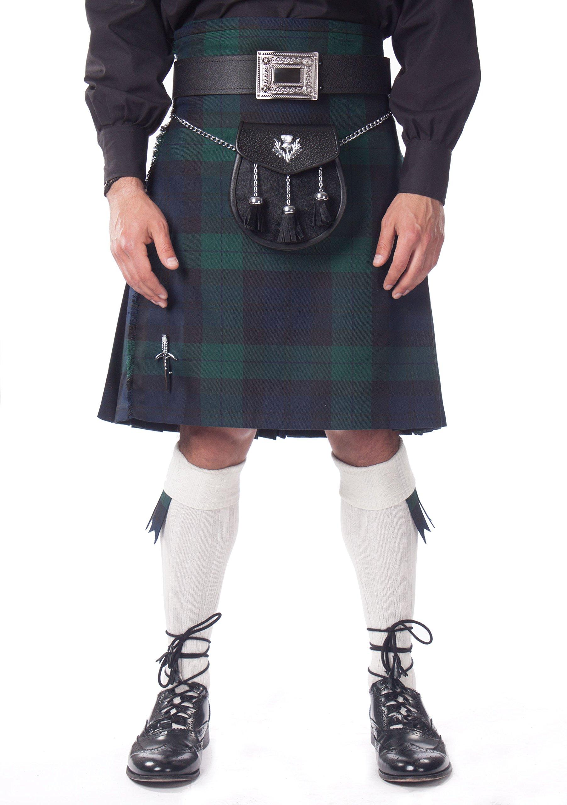 Kilt Society Mens 7 Piece Semi Dress Kilt Outfit- Black Watch Tartan with White Hose 34'' to 38''