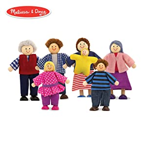 Melissa & Doug 7-Piece Posable Wooden Doll Family for Dollhouse