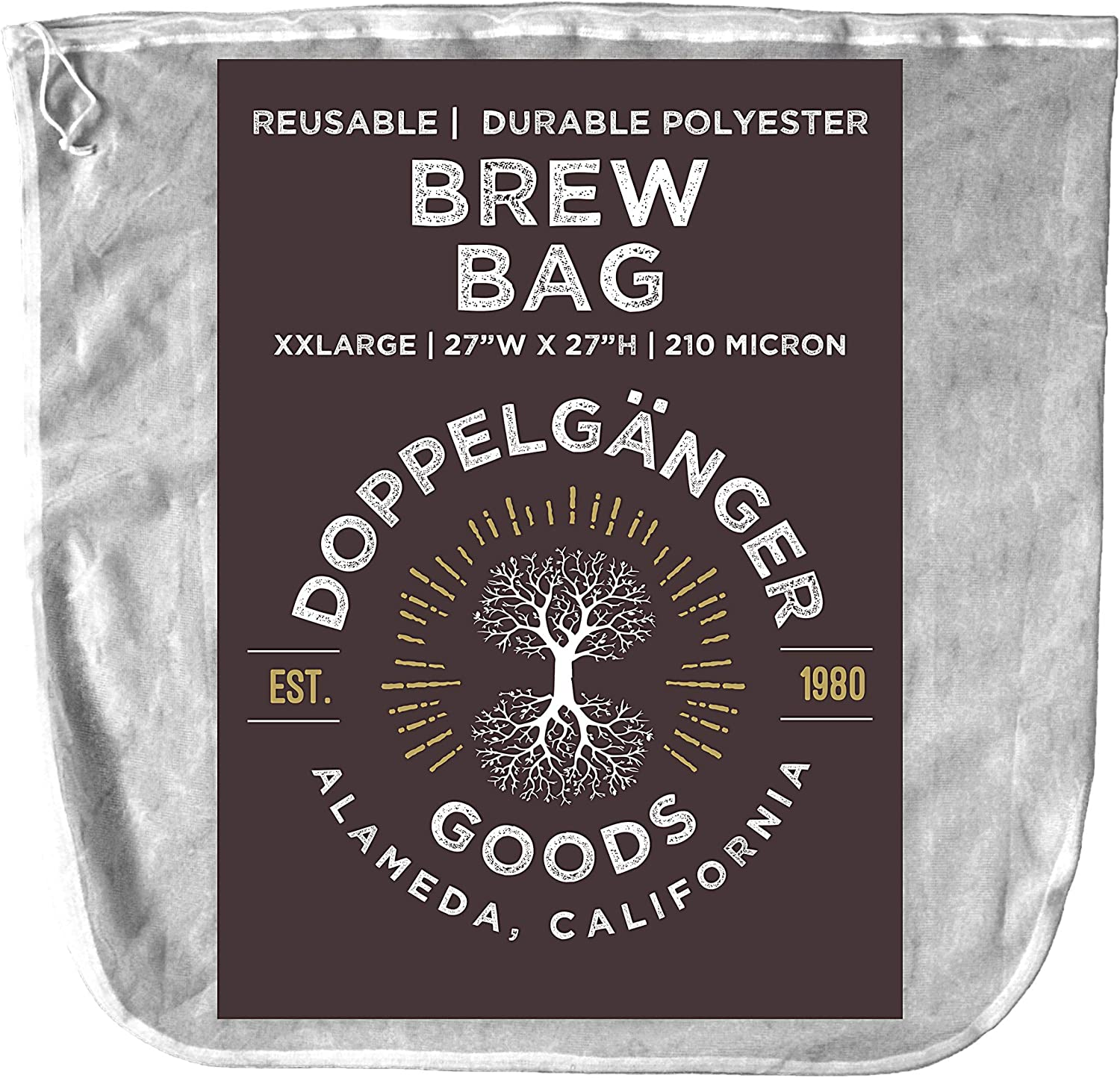 (XXL 27in x 27in) Durable Polyester Beer Brewing Brew Bag - Designed in California - Reusable Home Brewing Strainer Bag with EasyOpen Drawstring to Filter Mash, Boil and Strain Hops, Apple Cider