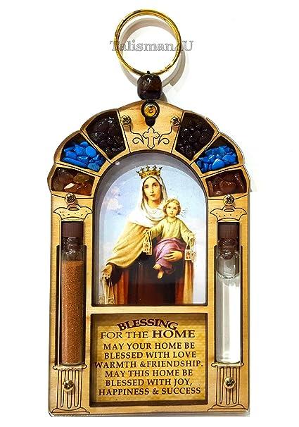 Casa bendición católica Virgen María Reina de cielo con agua bendita y Jerusalén suelo colgar en