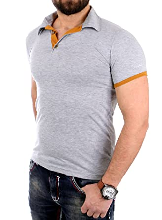 Reslad Poloshirt Herren Slim Fit T-Shirt Basic Kontrast Polo-Hemd Shirt  tailliert RS-5099: Amazon.de: Bekleidung