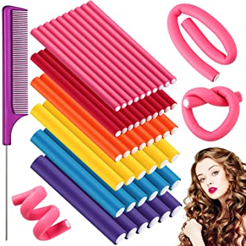 46 Pieces Flexible Curling Rods 7 Inch Soft Foam No Heat Hair Curlers Twist Foam Hair Rods Rollers Spiral Hair Foam Curler Roller with Steel Pintail Comb Rat Tail Comb for Women Girls, 6 Sizes