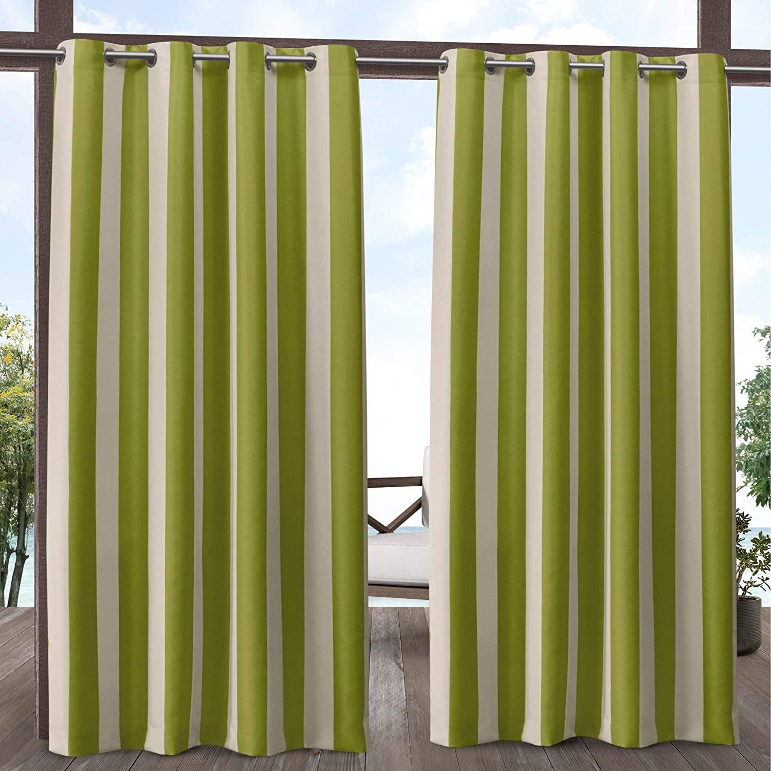 Exclusive Home Curtains Canopy Stripe Indoor/Outdoor Grommet Top Curtain Panel Pair, 54x84, Kiwi/Sand