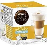 Nescafé Dolce Gusto Latte Macchiato ungesüßt Kaffeekapseln (Aromatischer Espresso, Milchschaum, Ohne Zucker, Blitzschnelle Zubereitung) 3er Pack (3 x 16 Kapseln)