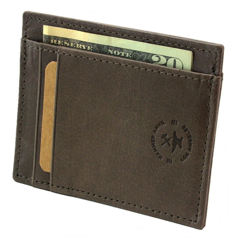 Martillo Anvil RFID bloqueo minimalista bolsillo frontal cartera de piel auténtica - Gris - talla única: Amazon.es: Ropa y accesorios