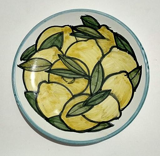166170b6ee38 Limones-Plato de cerámica Mano decorado tamaño 16,2 cm de diámetro ...