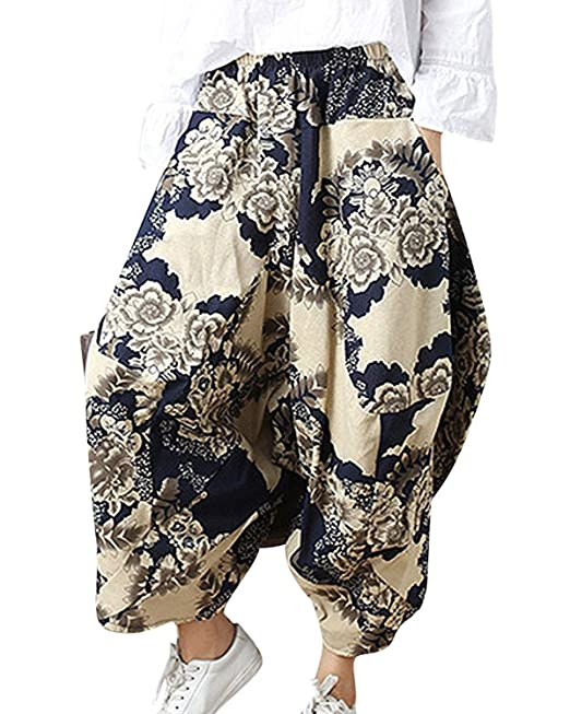 1967891561 Donna Pluderhose Estivi Vintage Stile Etnico Stampa Fiore Pantaloni ...