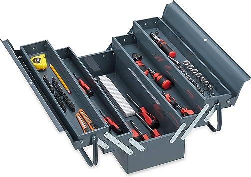 Relaxdays 10031422 Caja de herramientas vacía, 5 compartimentos, con asa, metal, con cierre, 21 x 53 x 20 cm, color gris, 1 Stück: Amazon.es: Bricolaje y herramientas