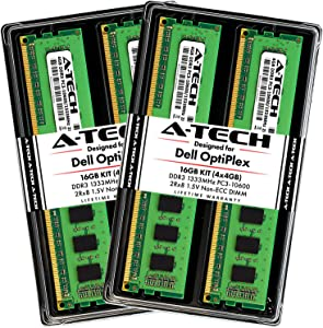 A-Tech 16GB RAM Kit for Dell OptiPlex 9010, 7900, 7010, 990, 980, 790, MT/DT/SFF - (4 x 4GB) DDR3 1333MHz PC3-10600 Non-ECC DIMM Memory Upgrade