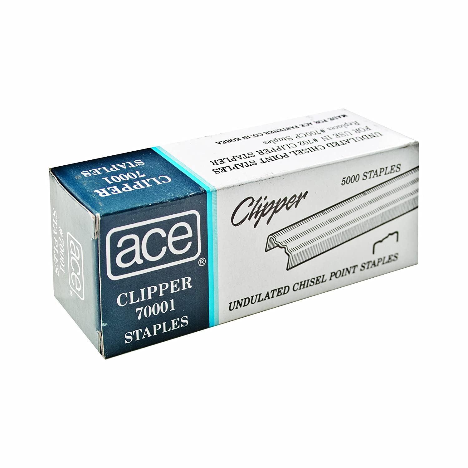 ACE Undulated Clipper Staples for 07020, Box of 5,000, ACE70001