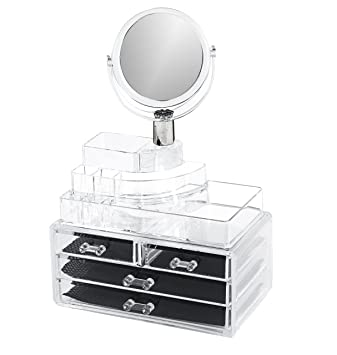 Amazon.com: Makeup Organizer 4 Drawers with Romovable Mirror ...