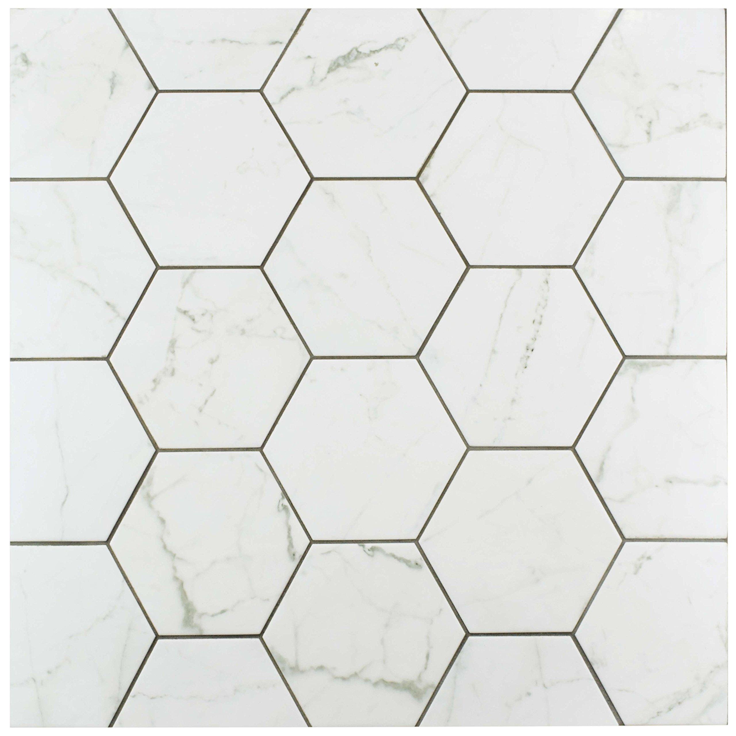 SomerTile FEQCRX Murmur Carrara Hexagon Porcelain Floor & Wall Tile, 7'' x 8'' (Pack of 25) by SOMERTILE (Image #5)