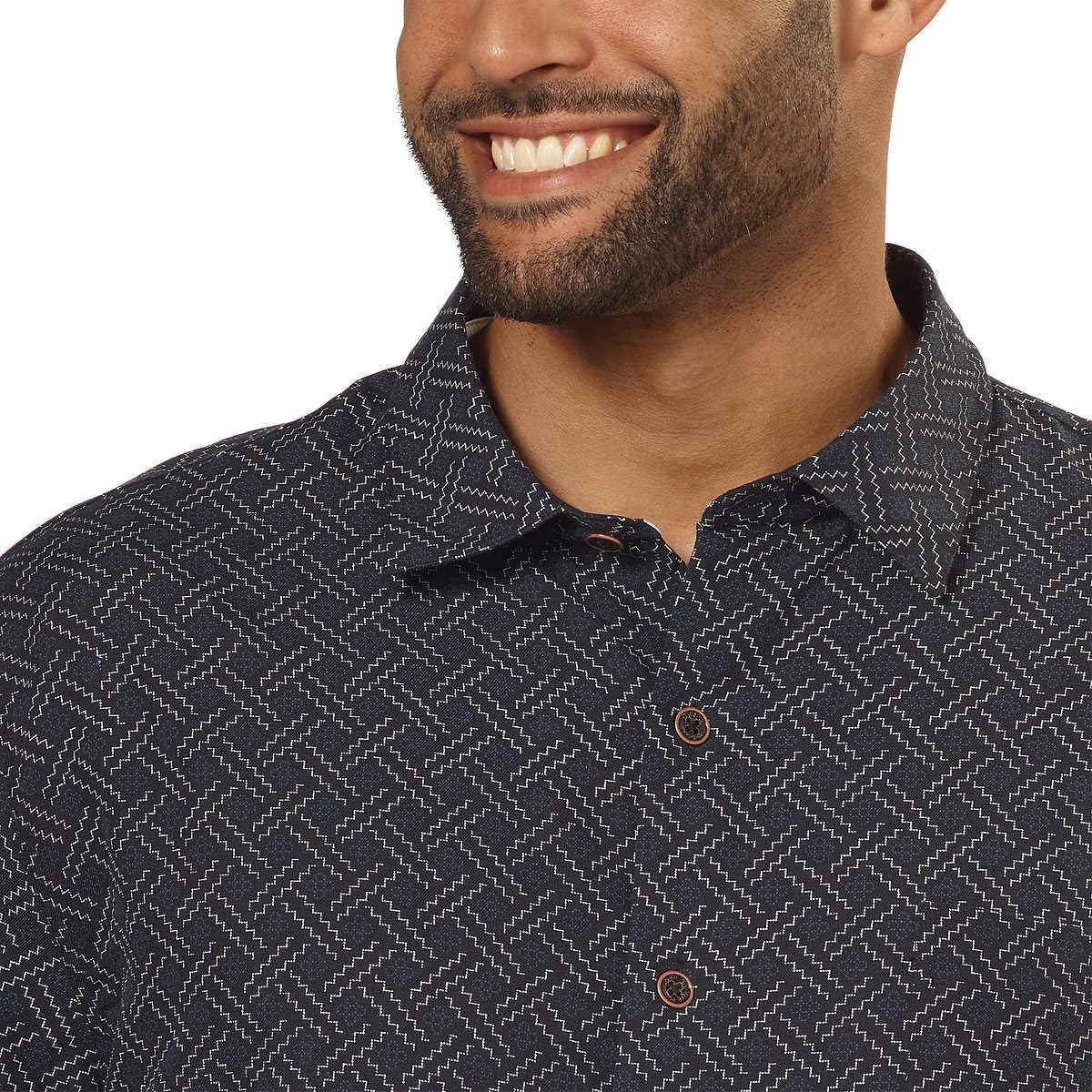 Nat Nast Mens Silk Blend Neat Traditional Fit Print Shirt Black Patten, XX-Large