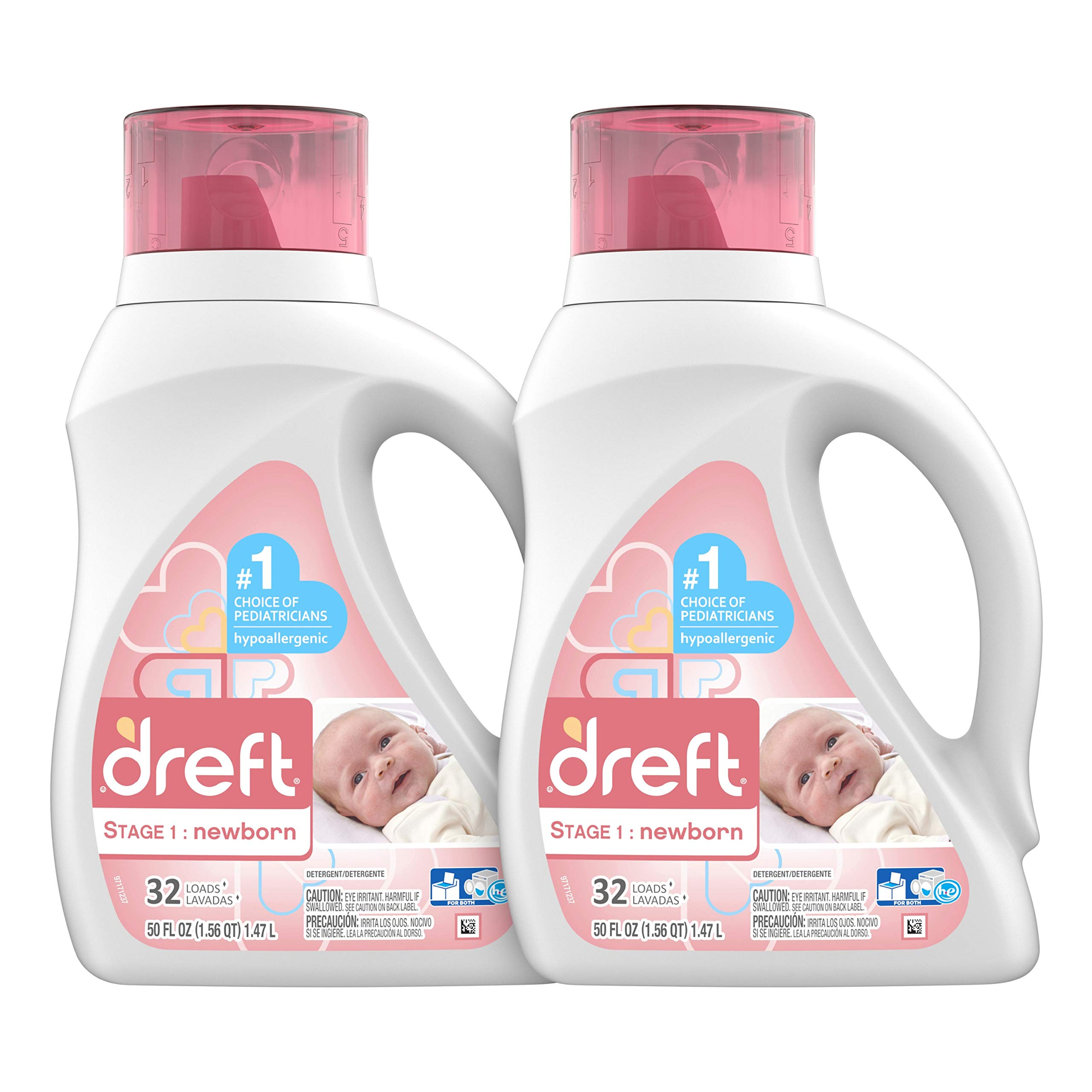 Dreft Stage 1: Newborn Hypoallergenic Liquid Baby Laundry Detergent (HE), Natural for Baby, Newborn, or Infant, 50 Ounce (32 Loads), 2 Count (Packaging May Vary) by Dreft