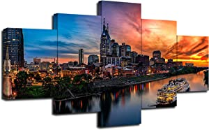 Nashville Tennessee Skyline Wall Decor Cumberland River Sunset Art Picture Print on Canvas City View Poster Framed Living Room Decoration 5 PanelReady to Hang(60''Wx32''H)