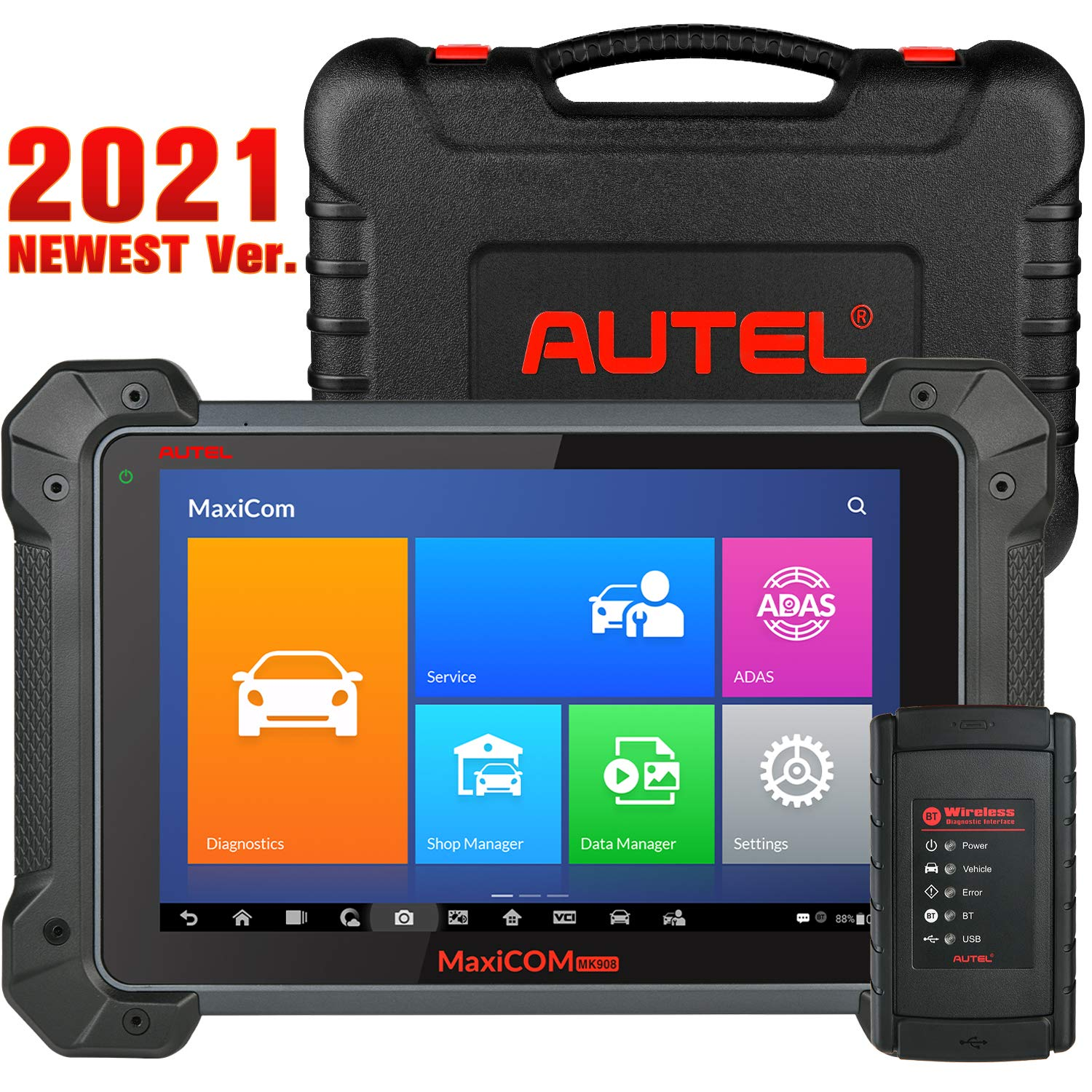 Autel MaxiCOM MK908 (Upgraded of MS906BT, Alternative for MK908P), 2021 Newest Automotive Scan Tool with Advanced ECU Coding, Full Bi-Directional Control, OE-Level All Systems Diagnosis & 31+ Services