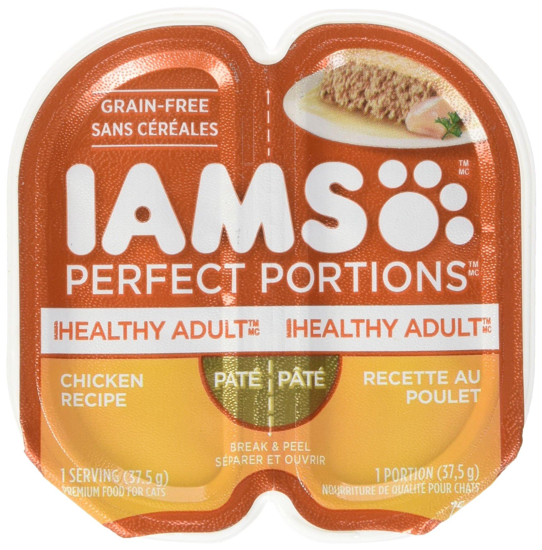 Iams Healthy Adult Grain Free Wet Cat Food, Chicken Pate, 2.6 oz. (24 Twin Packs)