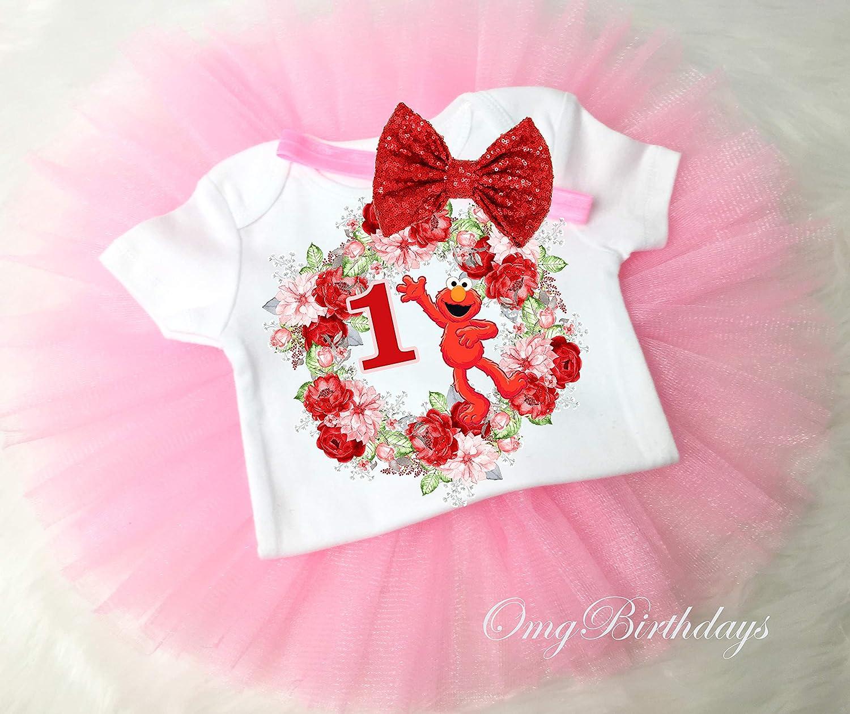 Birthday Tutu Outfit Elmo Pink Beautiful 3pcs Headband Romper
