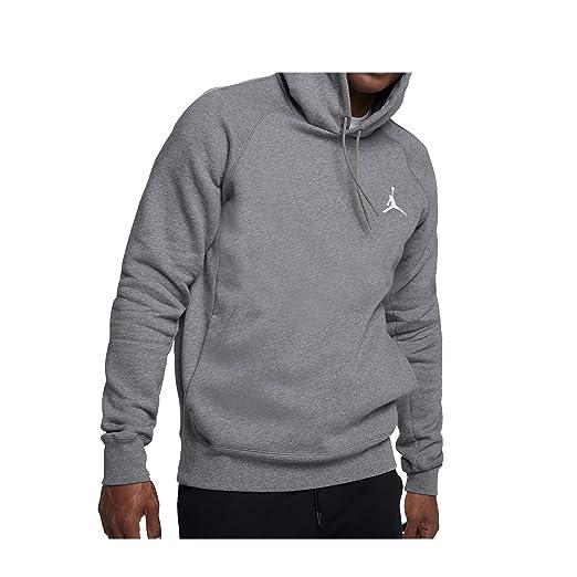 magasin en ligne acb5d cd4a7 NIKE Mens Jordan Flight Pull Over Hooded Sweatshirt Carbon Heather/White  NK823066-091 Size X-Large