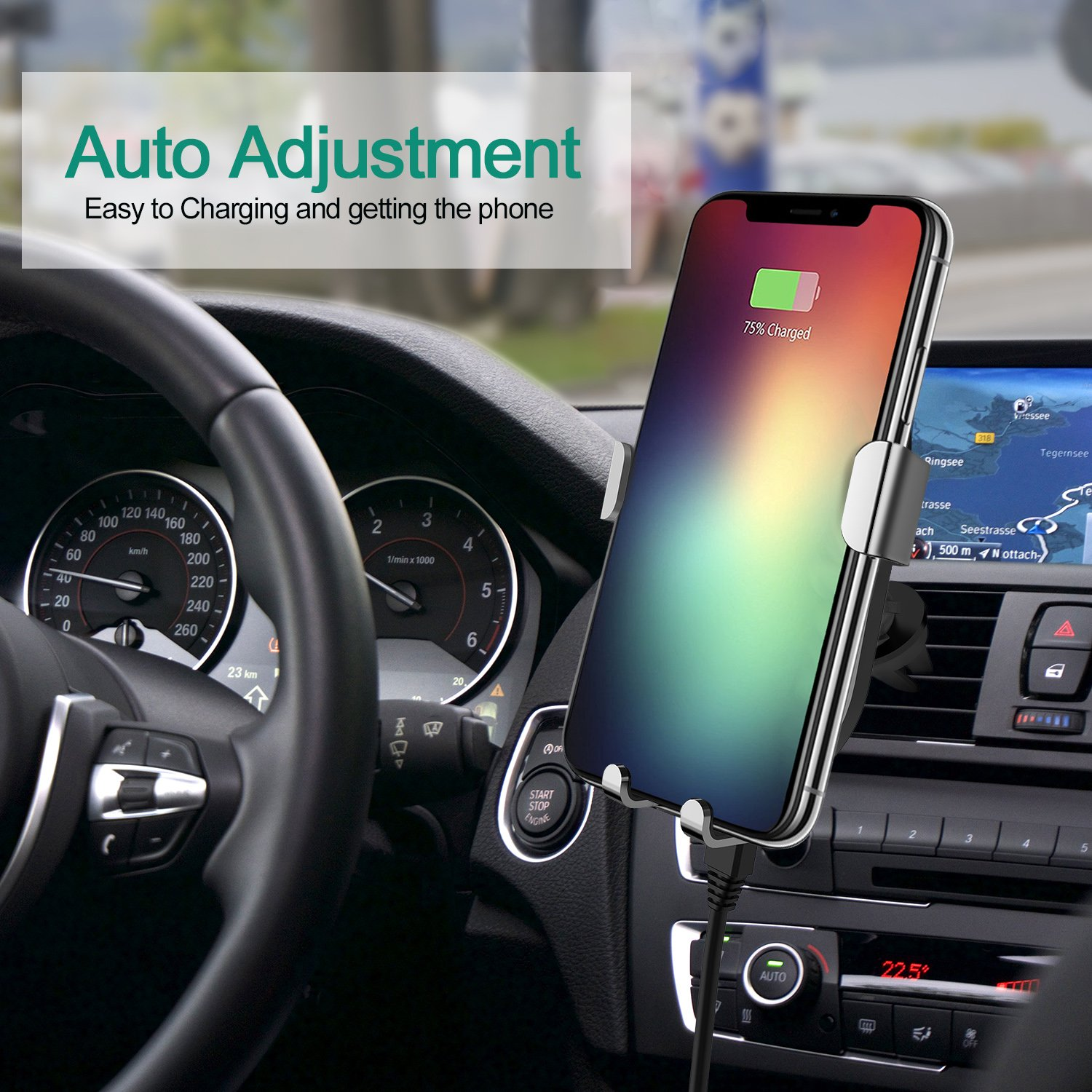 Wireless Car Charger, Esolom Fast Wireless Charging Mount Air Vent Gravity  Phone Holder Cradle Quick Charge 3 0 for iPhone X/8 Plus/8 Android Samsung