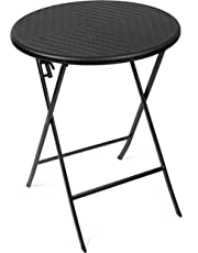 Vanage Side Table – Round Garden Table in Rattan Look – Plastic Table Suitable for Garden, Terrace and Balcony – Bistro Table with Steel Frame