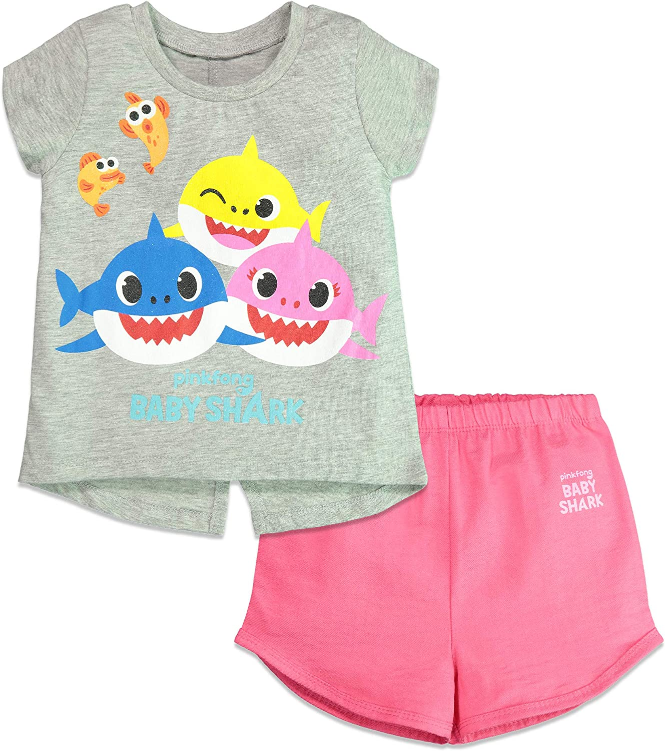Baby Shark Girls Short Sleeve T-Shirt & Shorts Set