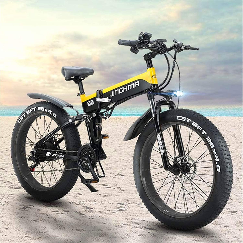 Leifeng Tower Alta Velocidad 26 Pulgadas de Bicicletas de montaña eléctrica, 4,0 Fat Tire Bike Nieve, 48V500W Motor/batería de Litio de 13Ah Soft Tail Bicicletas, con Pantalla LCD y LED Frontal Faros