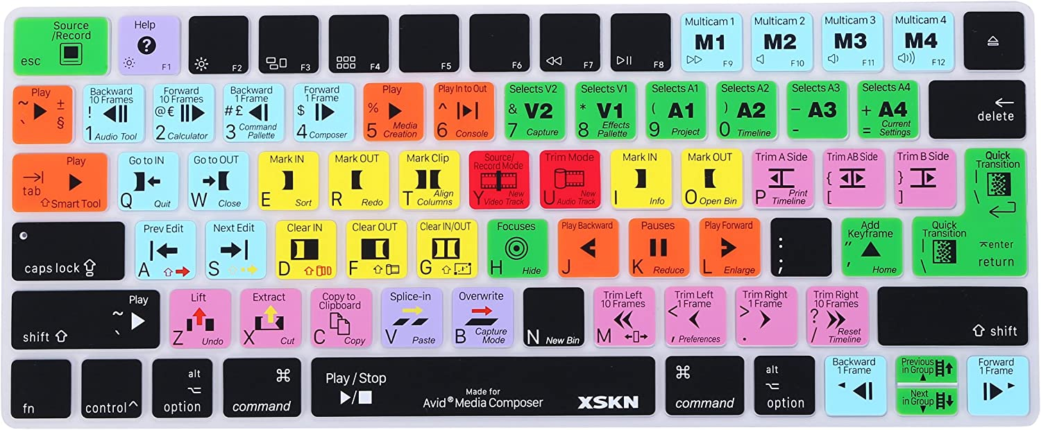 XSKN Avid Media Composer Silicone Shortcut Keyboard Skins are Compatible with Apple Magic MLA22LL/A and MLA22B/A (Released Since 2015) US&EU Versions