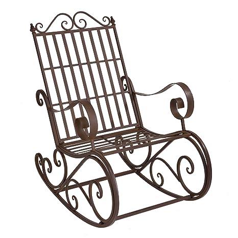 Sedia A Dondolo In Ferro Battuto.Casa Pro Sedia A Dondolo Robusta Di Metallo Marrone Ruggine A
