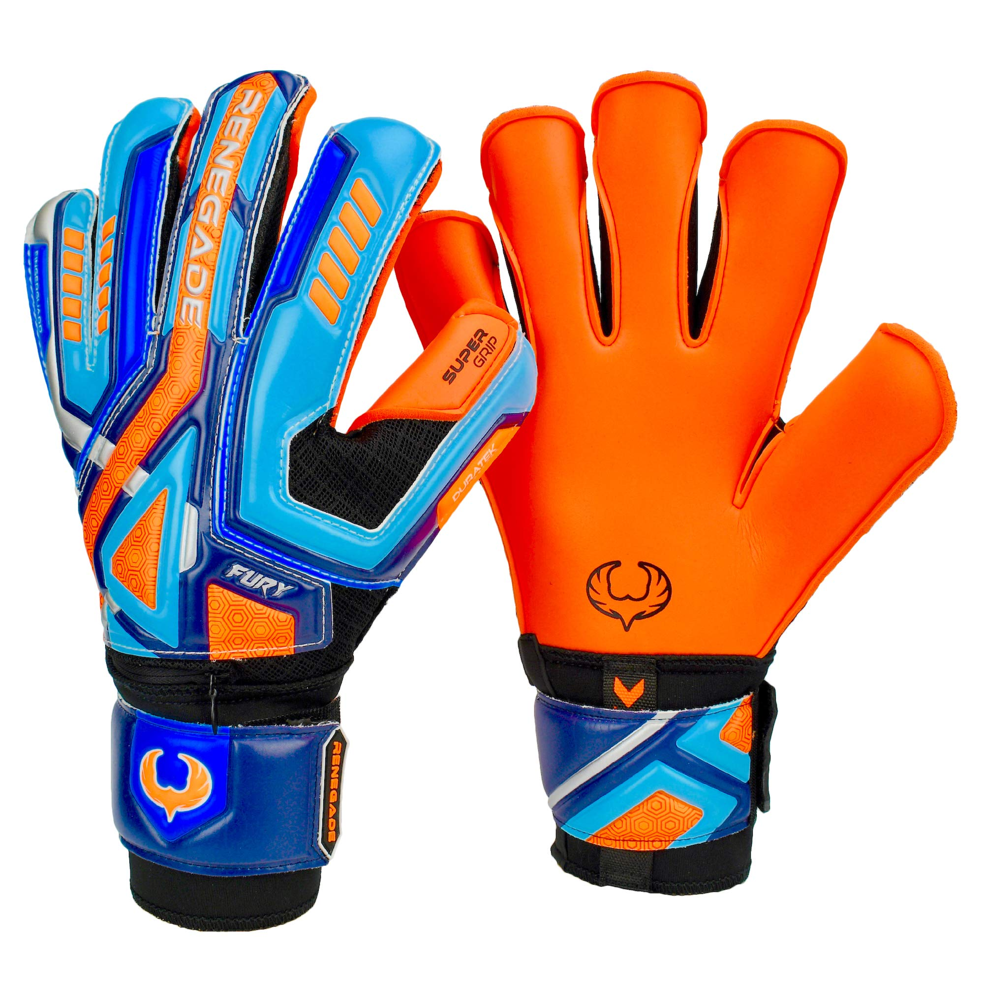 Renegade GK Fury Siege Roll Hybrid Cut Pro Level 4 Youth Goalkeeper Gloves with Pro-Tek Fingersaves - Kids Soccer Goalie Gloves Youth Size 7 - Boys & Girls Goalie Gloves Soccer - Blue, Orange, Black by Renegade GK (Image #1)