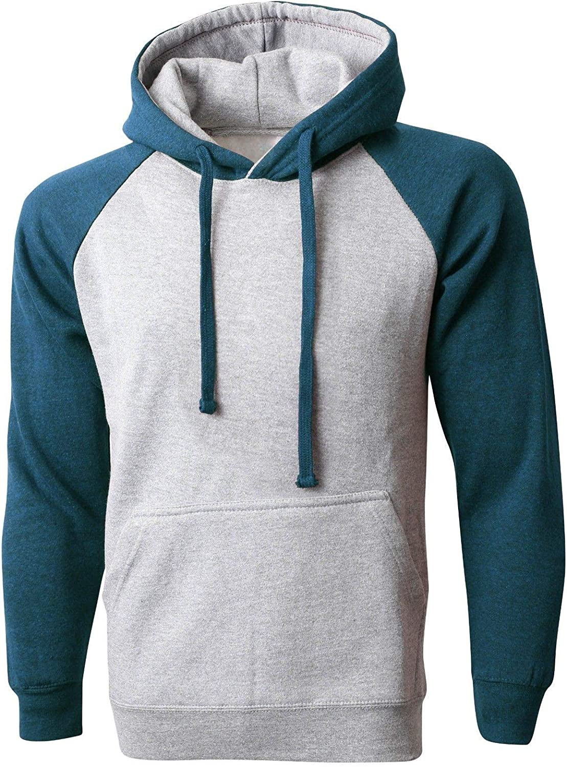 Heather Gray//Cyan Hoodie Raglan Premium Pullover Sweater Tee Shirts Contrast Heavy Long #SHAS