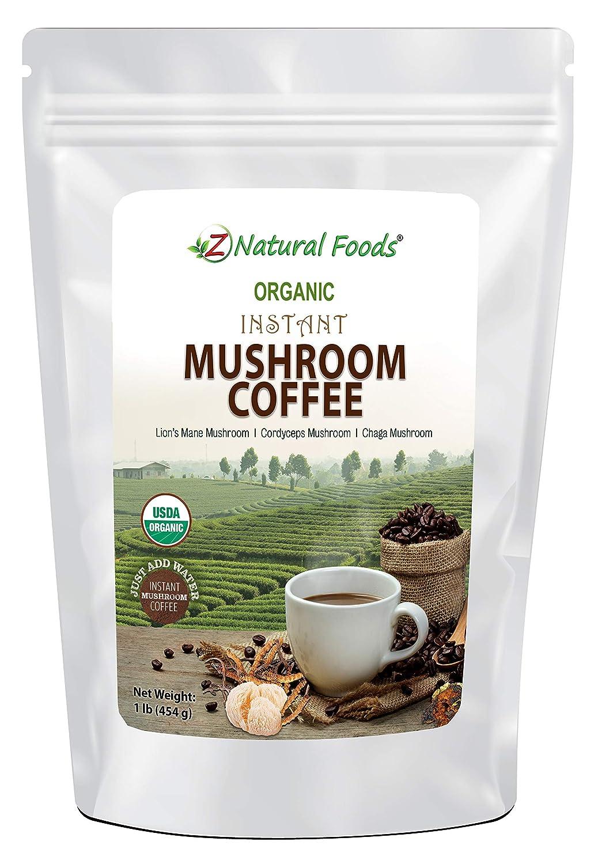 Organic Mushroom Coffee - Instant Superfood Mix of Lion's Mane + Cordyceps + Chaga + Colombian Coffee - Lightly Sweetened With Coconut Milk + Coconut Sugar + Stevia - Vegan & Gluten Free - 1 lb