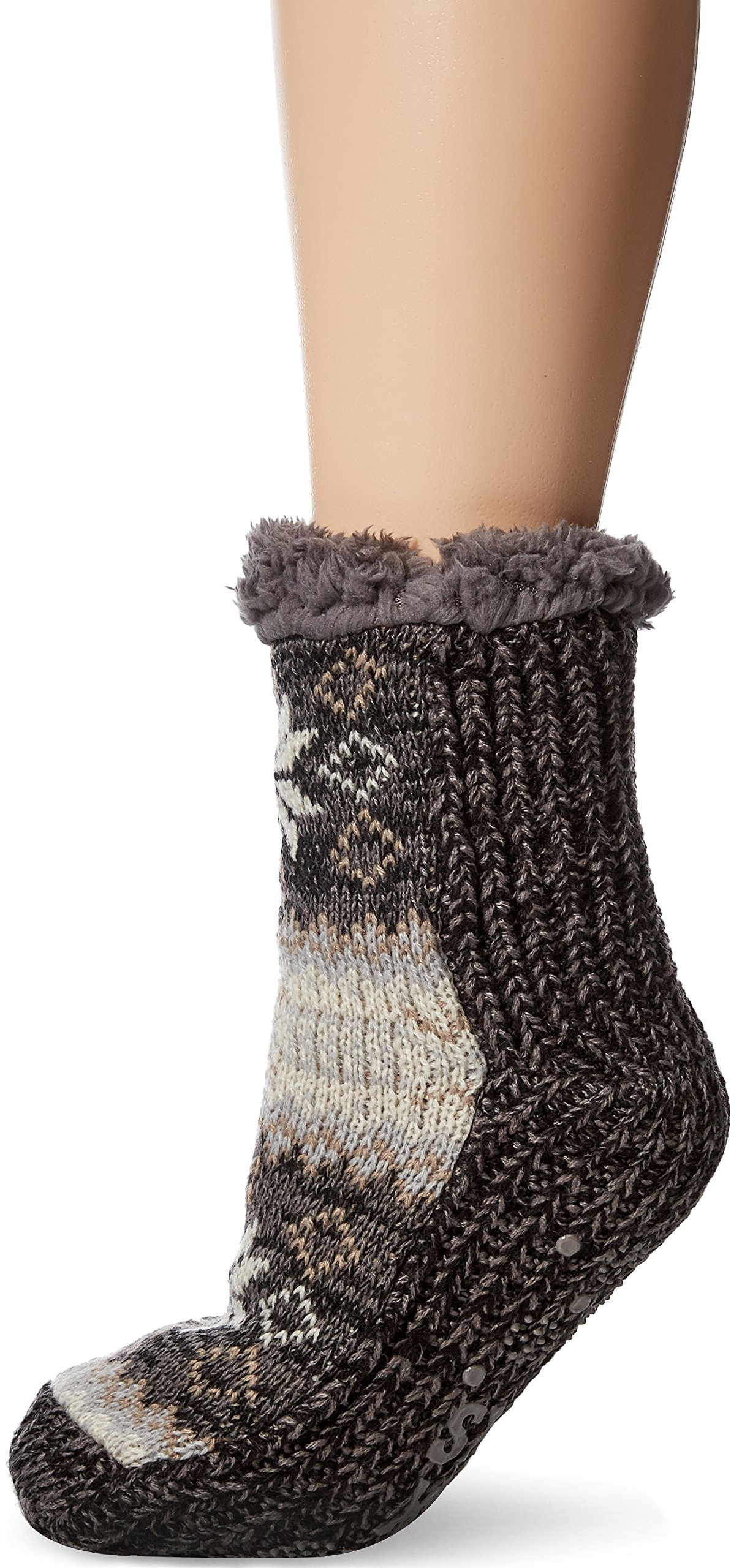 Muk Luks Women's Pieced Cabin Socks, Soft Grey, Small/Medium