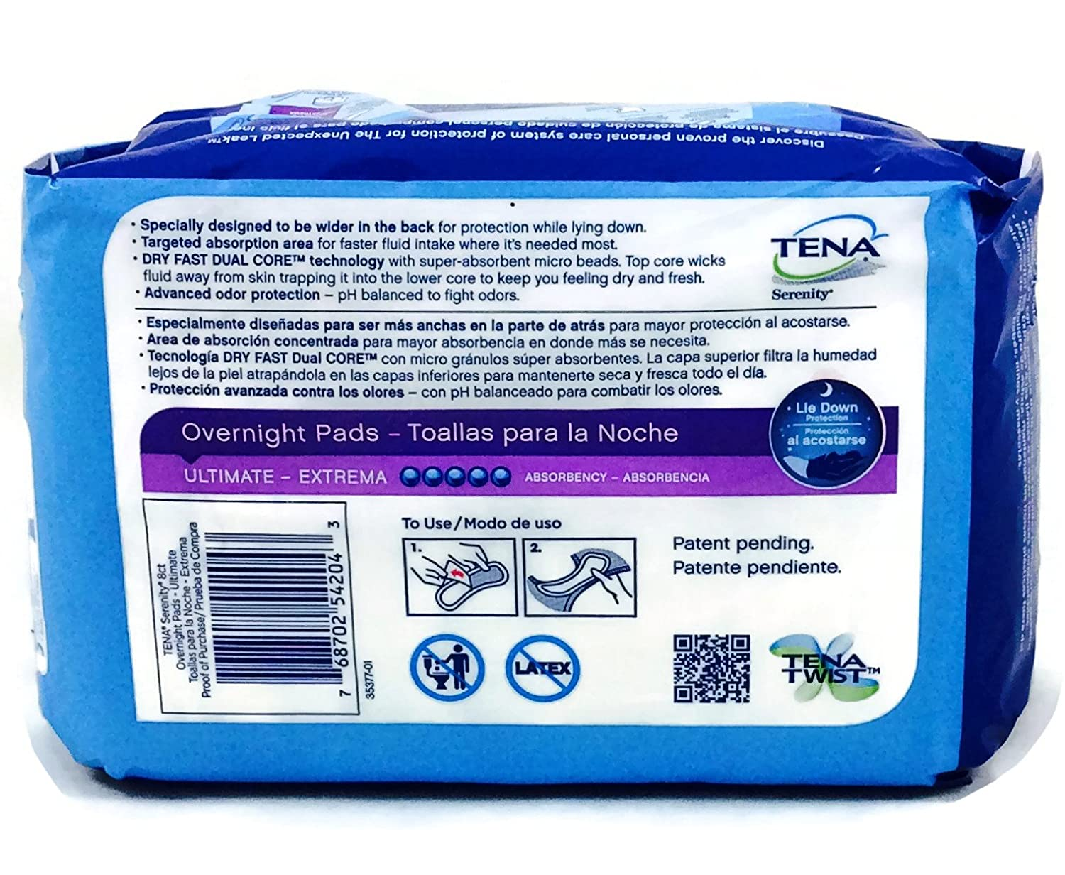 Amazon.com: Tena Serenity 8 Ct Overnight Pads Ultimate (Pack of 3): Beauty