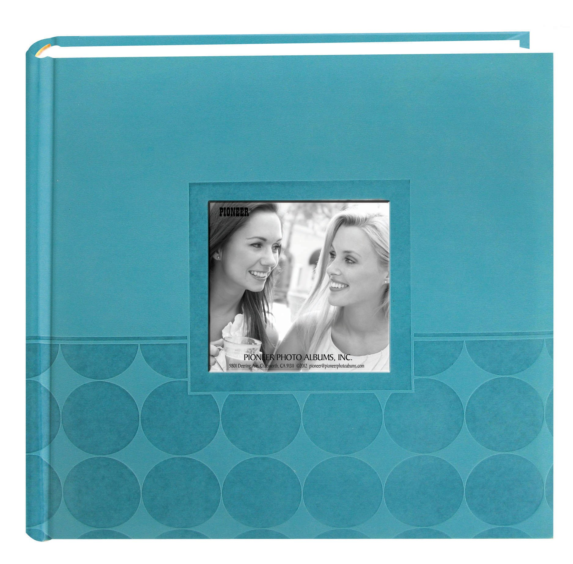 Pioneer Embossed 2-Up Photo Album 4''X6'' 200 Pockets-Aqua Circles by Pioneer